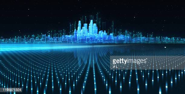 虛擬城市天際線 - 仮想空間 ストックフォトと画像