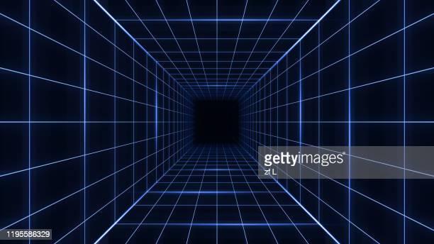 80年代復古的科幻背景 - grid pattern stock pictures, royalty-free photos & images
