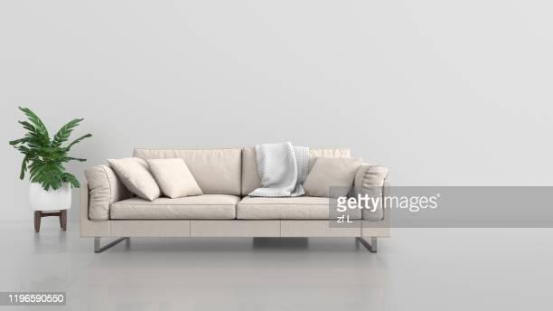有沙發的室內空間 - cojín fotografías e imágenes de stock