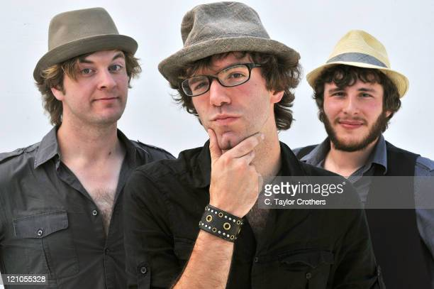 Stephen Kellogg & The Sixers poses with band members Kit Karison, Stephen Kellogg, and Boots Factor at the 2008 Mile High Music Festival at Dick's...