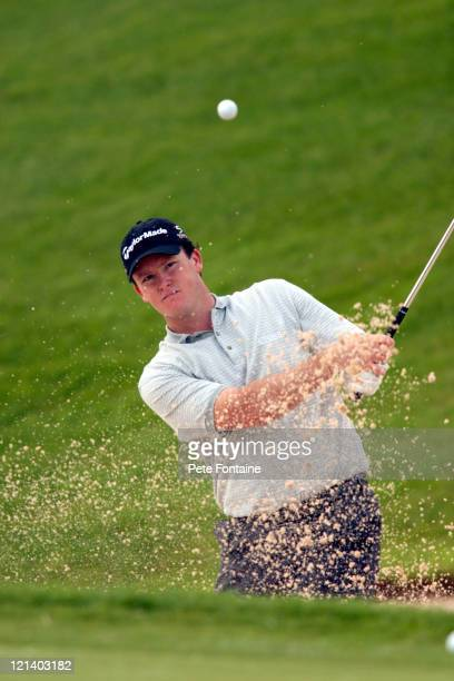 Marcus Fraser on the practice range preparing for the Celtic Manor Wales Open June 2 2004