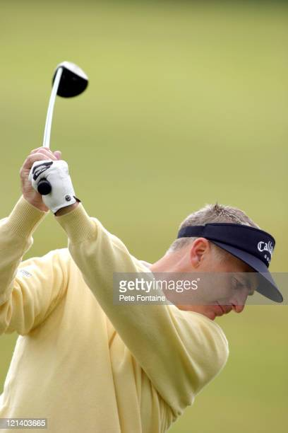 Phillip Price on the practice range preparing for the Celtic Manor Wales Open June 2 2004