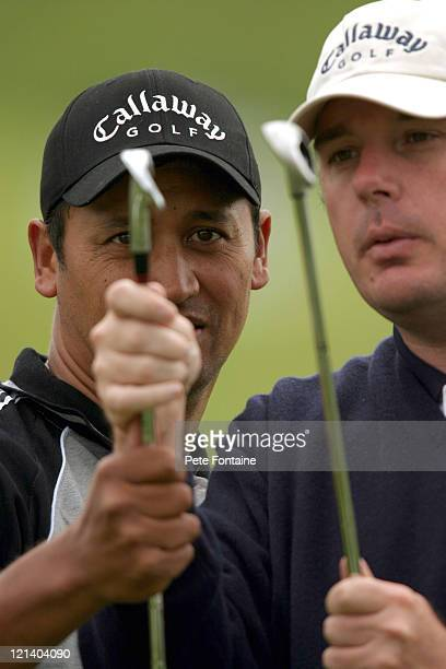 Michael Campbell on the practice range preparing for the Celtic Manor Wales Open June 2 2004