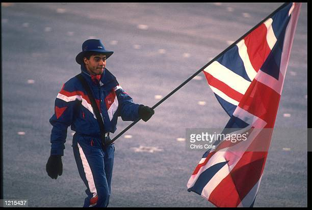 WILF O''REILLY OF GREAT BRITAIN CARRIES THE UNION JACK DURING THE OPENING CEREMONY OF THE 1992 WINTER OLYMPICS HELD IN ALBERTVILLE IN FRANCE.
