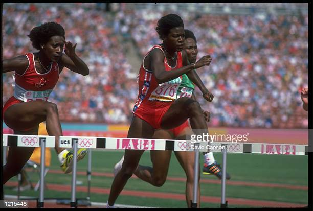 BENITA FITZGERALDBROWN OF THE UNITED STATES CLEARS A HURDLE DURING THE WOMENS 100 METRE HURDLE FINAL AT THE 1984 LOS ANGELES OLYMPICS FITZGERALDBROWN...