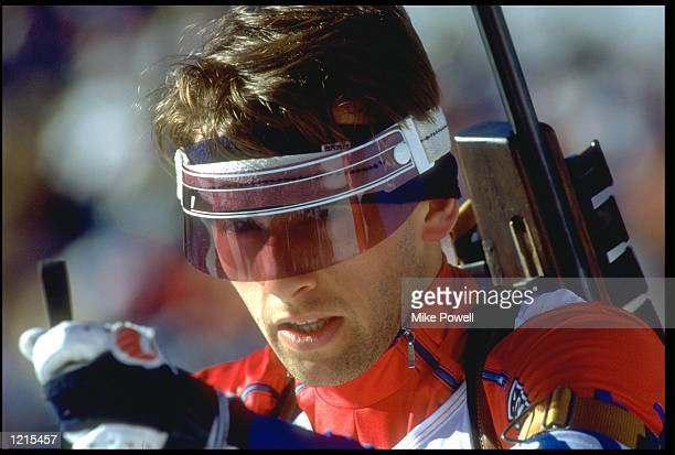 ROBERTO MARCHESI OF ITALY IN ACTION DURING THE MENS 10 KM BIATHLON COMPETITION AT THE 1988 WINTER OLYMPICS HELD IN CALGARY