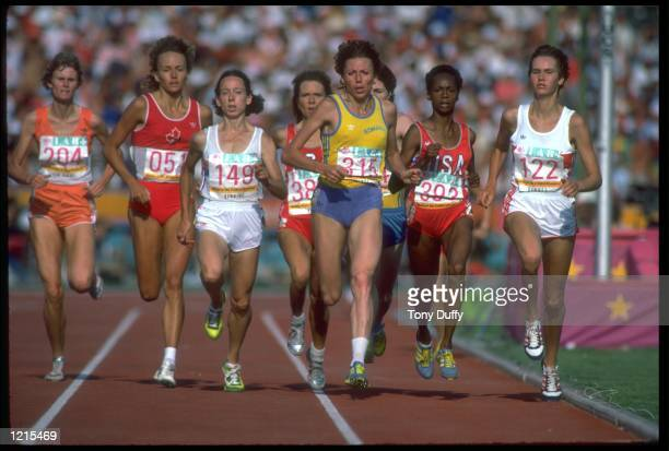 DOINA MELINTE OF ROMANIA LEADS THE PACK DURING THE WOMENS 1500 METRES FINAL AT THE 1984 LOS ANGELES OLYMPICS MELINTE FINISHED THE RACE IN SECOND...
