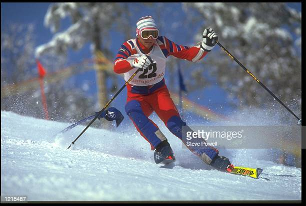 FLORIAN BECK OF GERMANY SKIING IN THE MENS SLALOM EVENT AT THE 1984 SARAJEVO WINTER OLYMPICS IN YUGOSLAVIA