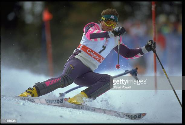 PAUL ACCOLA OF SWITZERLAND IN ACTION DURING THE SLALOM LEG OF THE ALPINE COMBINED COMPETITION AT THE 1988 WINTER OLYMPICS HELD IN CALGARY ACCOLA WON...