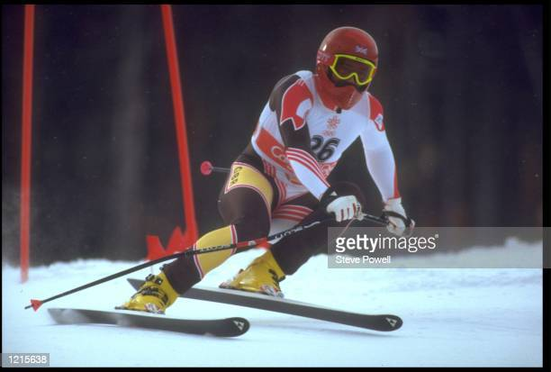 MARTIN BELL OF GREAT BRITAIN IN ACTION DURING THE MENS DOWNHILL COMPETITION AT THE 1988 WINTER OLYMPICS HELD IN CALGARY BELL FINISHED IN EIGHTH PLACE...