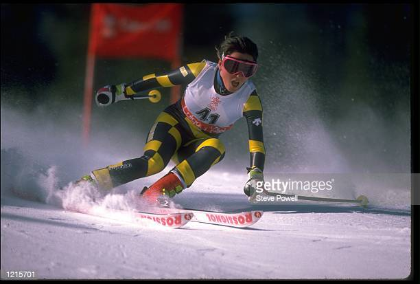 EVA DOMINGO MOGA OF SPAIN IN ACTION DURING THE WOMENS GIANT SLALOM EVENT AT THE 1988 WINTER OLYMPICS HELD IN CALGARY