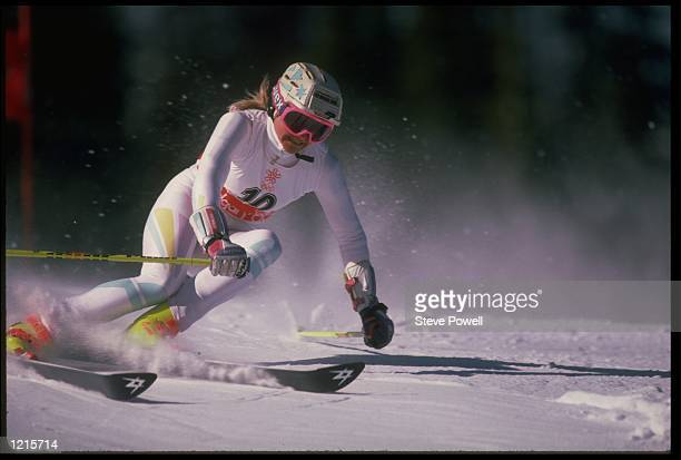 CHRISTA KINSHOFERGUTHLEIN OF WEST GERMANY IN ACTION DURING THE WOMENS GIANT SLALOM EVENT AT THE 1988 WINTER OLYMPICS HELD IN CALGARY...