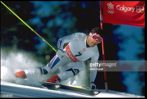 FRANK WOERNAL OF WEST GERMANY IN ACTION DURING THE MENS GIANT SLALOM EVENT AT THE 1988 WINTER OLYMPICS HELD IN CALGARY