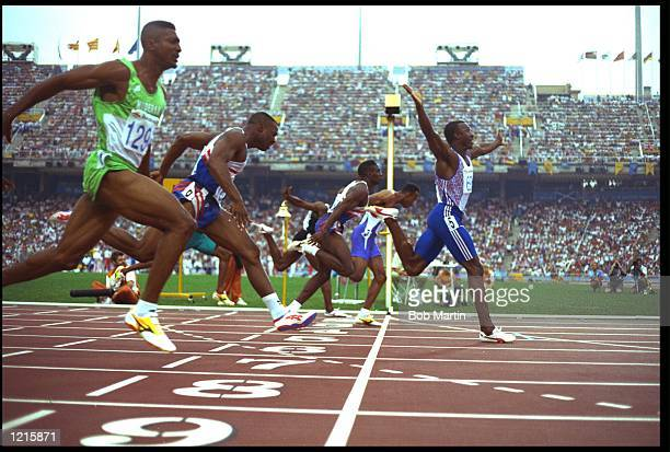 LINFORD CHRISTIE OF GREAT BRITAIN WINS THE 100 METRES FINAL FROM FRANKIE FREDERICKS FAR SIDE AND DENNIS MITCHELL CENTRE OLAPEDE ADENIKEN NEAREST...