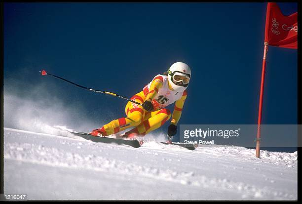 KAREN PERCY OF CANADA IN ACTION DURING THE WOMENS SUPER GIANT SLALOM EVENT AT THE 1988 WINTER OLYMPICS HELD IN CALGARY PERCY WON THE BRONZE MEDAL...