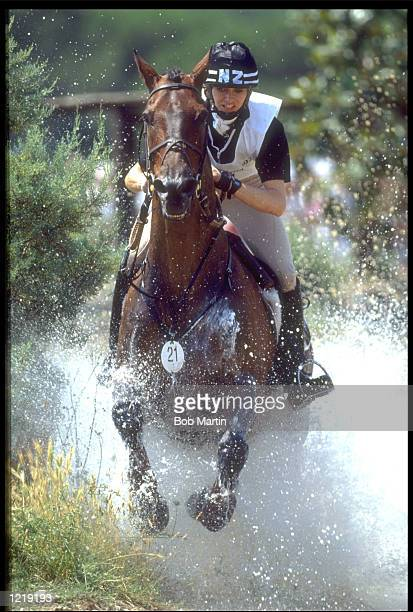 V LATTA OF NEW ZEALAND IN ACTION ON CHIEF DURING THE CROSS COUNTRY SECTION OF THE THREE DAY EVENTING COMPETITION AT THE 1992 BARCELONA OLYMPICS....