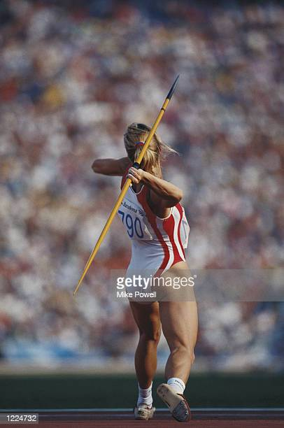 BIRGIT CLARIUS OF GERMANY IN ACTION DURING THE JAVELIN EVENT OF THE HEPTATHLON AT THE 1992 BARCELONA OLYMPICS