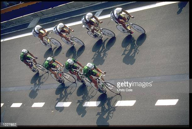 THE TEAM FROM IRELAND IN ACTION DURING THE MENS 100 KM TEAM TIME TRIAL COMPETITION AT THE 1992 BARCELONA OLYMPICS