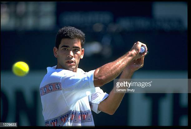 PETE SAMPRAS OF THE UNITED STATES PREPARES TO PLAY A SLICE BACKHAND DURING A MATCH AT THE 1994 LIPTONS TENNIS CHAMPIONSHIPS PLAYED IN KEY BISCAYNE IN...