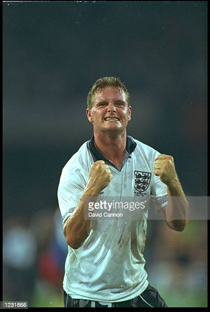 PAUL GASCOIGNE OF ENGLAND CELEBRATES DURING THE ENGLAND V CAMEROON QUARTER FINAL MATCH PLAYED IN THE SAN PAOLO STADIUM IN NAPLES AT THE 1990 WORLD...