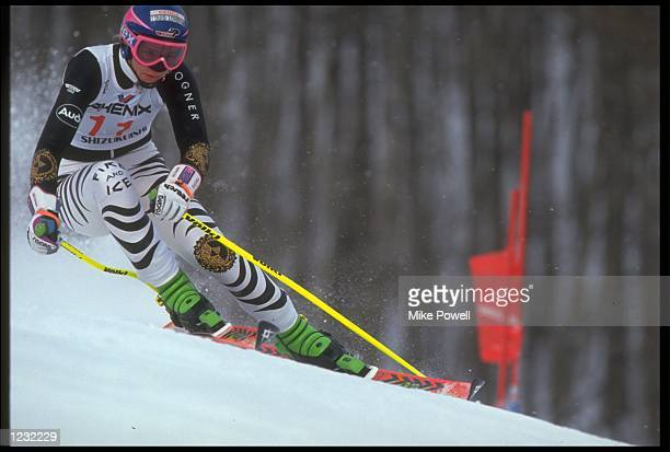 KATJA SEIZINGER OF GERMANY SKIING IN THE WOMENS GIANT SLALOM EVENT AT THE WORLD SKIING CHAMPIONSHIPS IN MORIOKA JAPAN