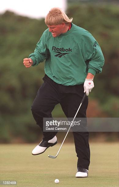 JOHN DALY OF THE USA REACTING AFTER JUST MISSING A PUTT DURING THE FINAL ROUND OF THE 1995 BRITISH OPEN GOLF CHAMPIONSHIPS ON THE OLD COURSE AT ST...