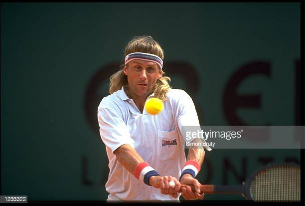 BJORN BORG OF SWEDEN PLAYS A BACKHAND SHOT DURING HIS COMEBACK AT THE 1991 MONTE CARLO OPEN. BORG ATTEMPTED TO DEFEAT TODAYS PLAYERS WITH AN OLD...