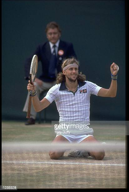 BJORN BORG OF SWEDEN FALLS TO HIS KNEES AS HE REALISES HE HAS WON THE 1979 WIMBLEDON TENNIS CHAMPIONSHIPS BORG DEFEATED ROSCOE TANNER OF THE UNITED...
