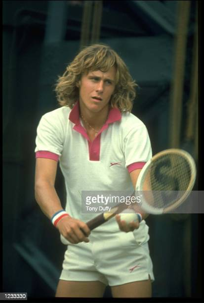 BJORN BORG OF SWEDEN PREPARES TO MAKE A SERVE DURING A MATCH AT THE 1974 WIMBLEDON TENNIS CHAMPIONSHIPS