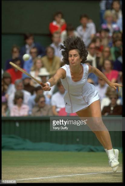 VIRGINIA WADE OF GREAT BRITAIN DIVES TO REACH THE BALL DURING THE LADIES FINAL AT THE 1977 WIMBLEDON TENNIS CHAMPIONSHIPS WADE DEFEATED BETTY STOVE...