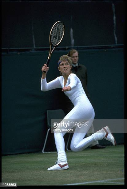 ANNE WHITE OF THE USA HITS A FOREHAND LOB WHILST WEARING A REVOLUTIONARY ONE PIECE TENNIS OUTFIT AT THE WIMBLEDON CHAMPIONSHIPS