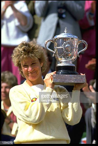 CHRIS EVERT OF THE UNITED STATES HOLDS THE FRENCH OPEN TROPHY AFTER WINNING THE LADIES SINGLES IN PARIS AT THE STADE ROLAND GARROS.