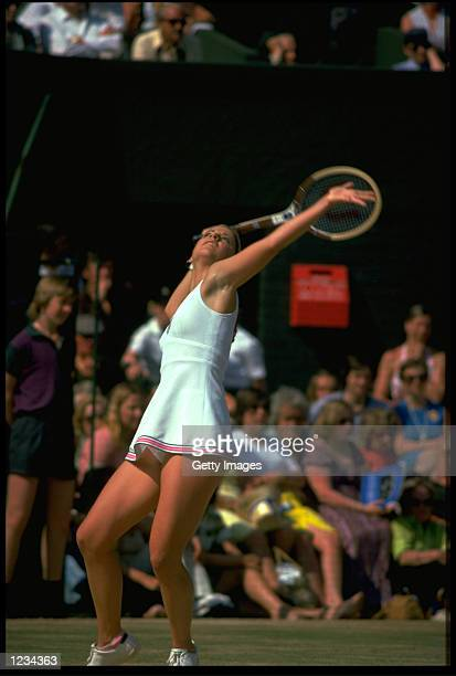 CHRIS EVERT OF THE UNITED STATES SERVES DURING THE WOMENS SINGLES AT WIMBLEDON