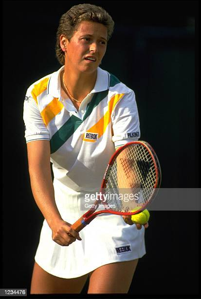 JO DURIE OF GREAT BRITAIN PREPARES TO SERVE DURING THE WOMENS SINGLES CHAMPIONSHIP AT WIMBLEDON