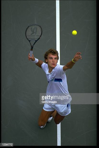 MATS WILANDER OF SWEDEN SERVES DURING THE 1987 US OPEN CHAMPIONSHIPS AT FLUSHING MEADOW