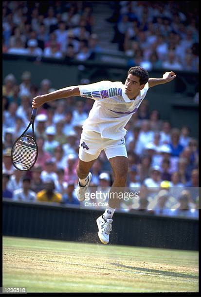 PETE SAMPRAS OF THE UNITED STATES PLAYS A SLICE BACKHAND DURING A MATCH AT THE 1993 WIMBLEDON TENNIS CHAMPIONSHIPS