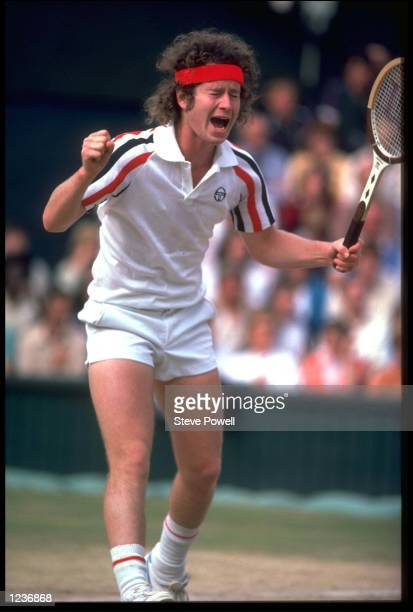 JOHN MCENROE OF THE UNITED STATES REACTS WITH ANGER AFTER AN UMPIRES CALL AT THE 1980 WIMBLEDON CHAMPIONSHIPS.