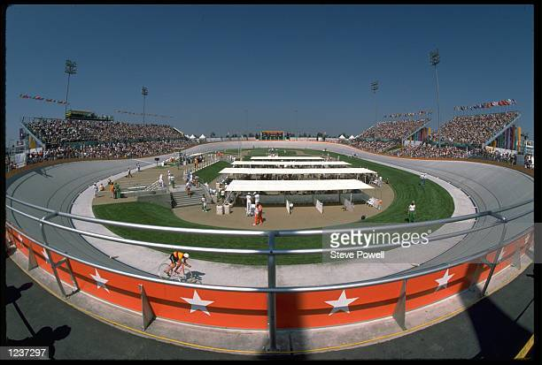 A GENERAL VIEW OF THE VELODROME USED FOR THE CYCLING EVENTS AT THE 1984 LOS ANGELES OLYMPICS
