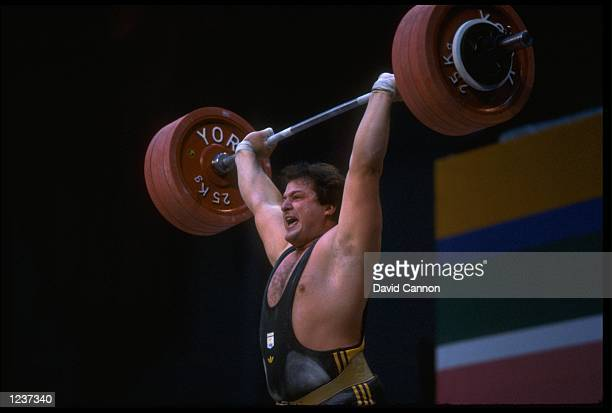 DEAN LUKIN OF AUSTRALIA IN ACTION IN THE SUPERHEAVYWEIGHT WEIGHTLIFTING CLASS AT THE 1984 LOS ANGELES OLYMPICS LUKIN WON THE GOLD WITH A TOTAL OF...