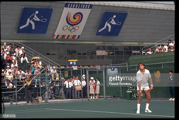 HENRI LECONTE OF FRANCE IN ACTI0N AT THE 1988 SEOUL SUMMER OLYMPICS.