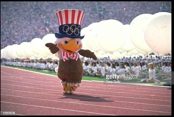 SAM THE EAGLE THE MASCOT OF THE 1984 LOS ANGELES OLYMPICS MARCHES AROUND THE STADIUM DURING THE OPENING CEREMONY
