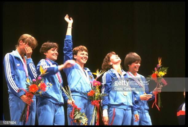 THE WEST GERMAN LADIES TEAM RECEIVE THEIR GOLD MEDALS AFTER WINNING THE TEAM FOIL FENCING EVENT AT THE 1984 LOS ANGELES OLYMPICS