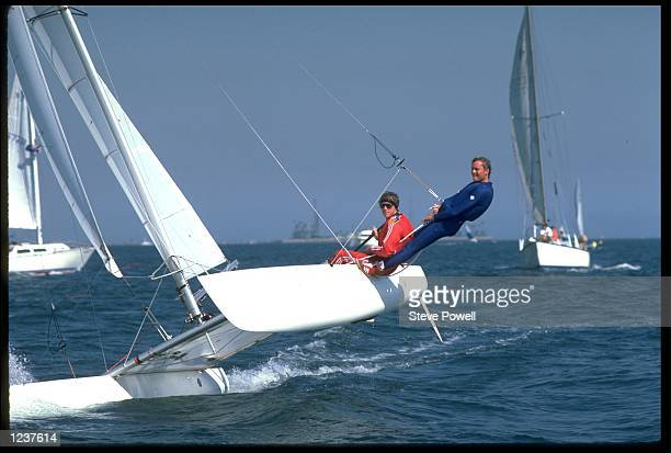 RAINER FROELICH AND BERTRAND CARDIS OF SWITZERLAND ON THEIR CATAMARAN DURING THE 1984 SUMMER OLYMPICS IN LOS ANGELES CALIFORNIA UNITED STATES