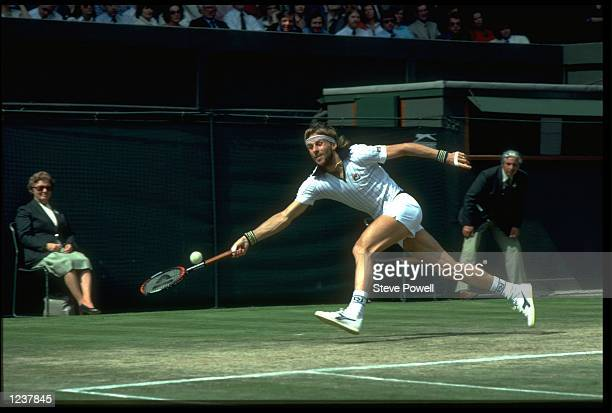 BJORN BORG OF SWEDEN STRETCHES TO REACH A LOW BALL DURING A MATCH AT THE 1981 WIMBLEDON TENNIS CHAMPIONSHIPS.