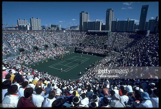 A VIEW FROM THE STAND OF ONE OF THE TENNIS COURTS USED FOR THE TENNIS TOURNAMENT AT THE 1988 OLYMPIC GAMES HELD IN SEOUL IN SOUTH KOREA