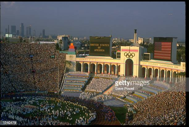 A GENERAL VIEW OF THE OLYMPIC STADIUM DURING THE OPENING CEREMONY FOR THE 1984 SUMMER OLYMPICS HELD IN LOS ANGELES IN THE UNITED STATES OF AMERICA