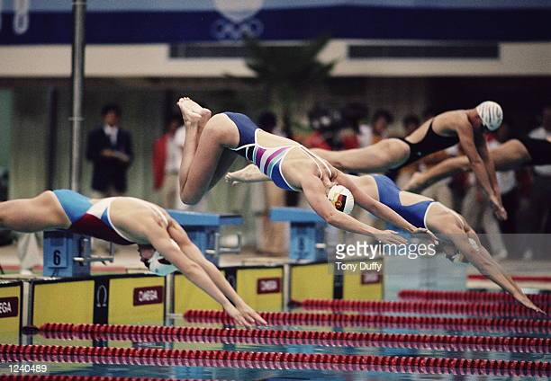 KRISTIN OTTO OF EAST GERMANY DIVES INTO THE POOL DURING THE FINAL OF THE WOMENS 100 METRES FREESTYLE AT THE 1988 SEOUL OLYMPICS OTTO WON THE GOLD...