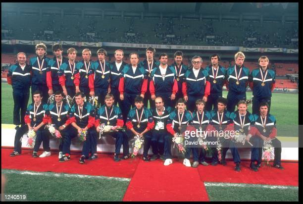 THE SOCCER TEAM FROM THE SOVIET UNION POSE WITH THEIR MEDALS AFTER WINNING THE SOCCER TOURNAMENT AT THE 1988 SEOUL OLYMPICS THE USSR DEFEATED BRAZIL...