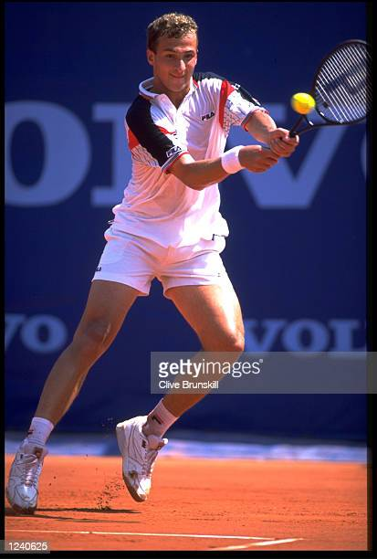 ANDREI MEDVEDEV OF THE UKRAINE IN ACTION AT THE 1994 ATP MONTE CARLO OPEN