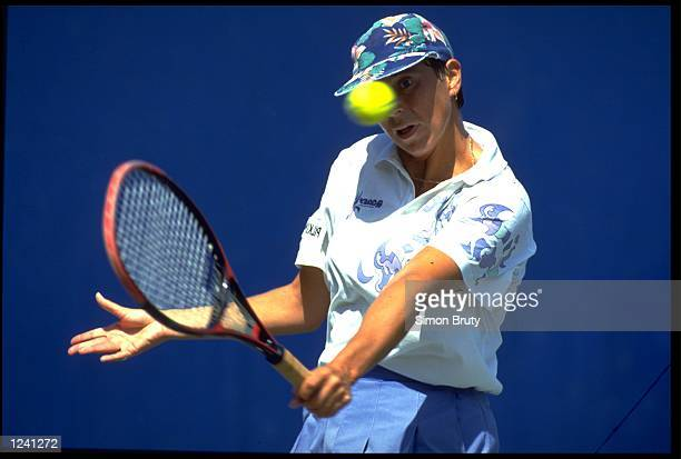 JO DURIE OF GREAT BRITAIN HITS A BACKHAND AT THE 1992 US OPEN GRAND SLAM